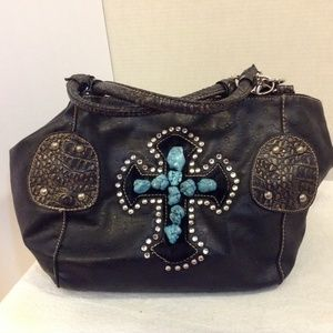 Handbags - BLACK SHOULDER BAG TAN STITCHED W/  STUDDED CROSS